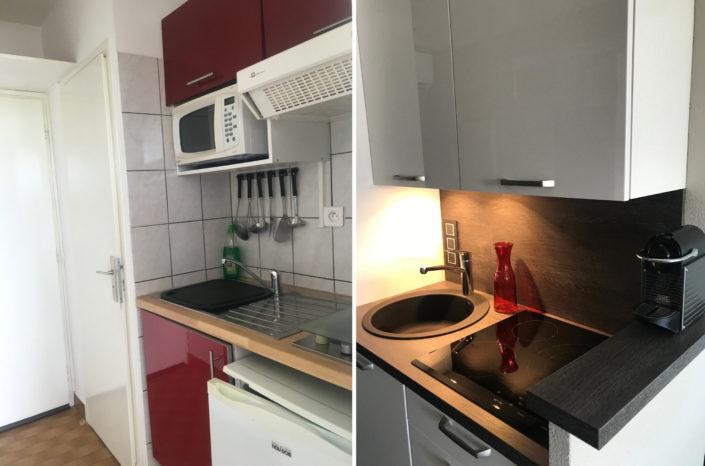 Exemple de réalisation Ki Dépann Aménagement et décoration cuisine avant-après