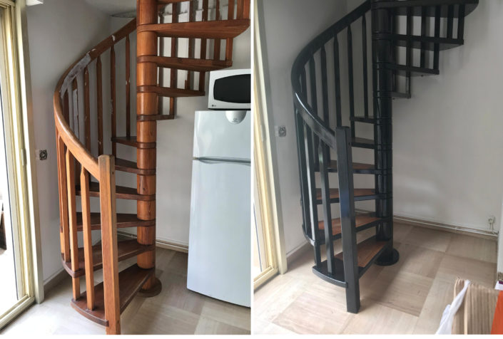 Exemple de réalisation Ki Dépann Peinture escalier avant-après